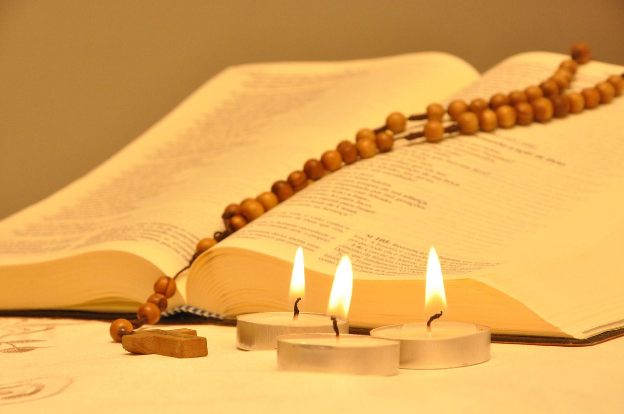 bible, candles, rosary